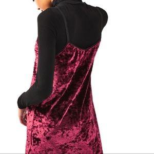 Topshop Crushed Velvet Slip Dress